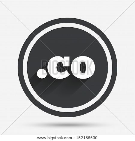 Domain CO sign icon. Top-level internet domain symbol. Circle flat button with shadow and border. Vector