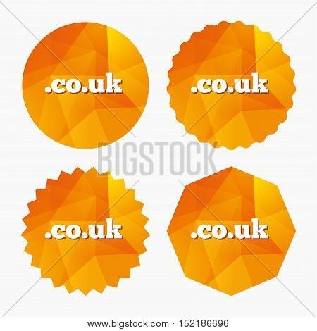 Domain CO.UK sign icon. UK internet subdomain symbol. Triangular low poly buttons with flat icon. Vector