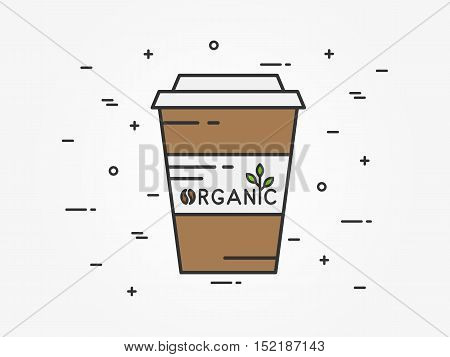 Organic coffee linear vector illustration. Organic coffee leaf leaves tree coffee bean brown green creative graphic concept. Graphic design template for store banner.