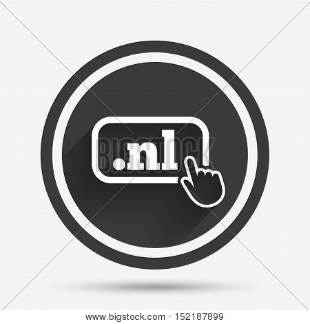 Domain NL sign icon. Top-level internet domain symbol with hand pointer. Circle flat button with shadow and border. Vector