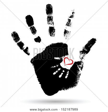 Concept or conceptual cute paint hand of mother child and heart shape isolated on white for art, care, childhood, family, fun, happy, infant, symbol, kid, little, love, mom, motherhood, young
