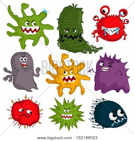 Cartoon bacteria characters vector illustration on white background. Cute fly germ viruses infection vector characters. Funny micro bacteria characters. Microbe, Pathogen. Isolated funny bacteria. Cartoon flu bacteria and other viruses. Viruses icon