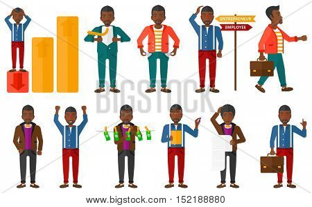 Set of business people. Businessman choosing career. Businessman laundering money. Business success, business bankruptcy concept. Vector flat design illustration in the circle isolated on background.