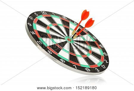 dart board with two darts isolated on white