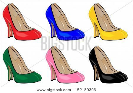 A collection of stiletto heel shoes isolated on a white background