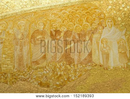 FATIMA, PORTUGAL - October 6, 2016: Detail of the presbytery panel made of terracotta gilt and molded manually in the Basilica of the Most Holy Trinity in Fatima Portugal.