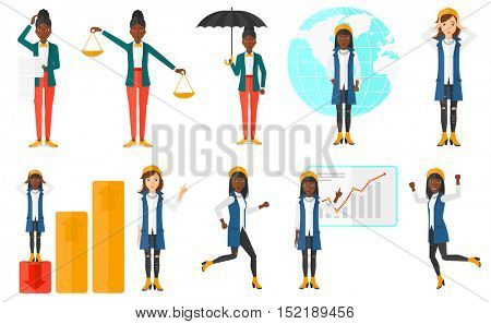 Set of business women. Business success, business insurance, business presentation, global business, business bankruptcy concept. Vector flat design illustration in the circle isolated on background.