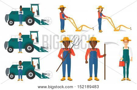 Set of farmers using agricultural tools. Farmer with pitchfork, scythe, watering can. Farmer harvesting crop. Farmer using a plough and combine. Vector illustration isolated on white background.