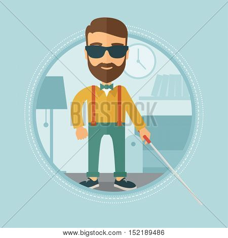 Caucasian blind hipster man with beard standing with walking stick. Young man in dark glasses with cane standing in living room. Vector flat design illustration in the circle isolated on background.