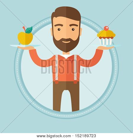 Caucasian hipster man with beard choosing between apple and cupcake. Young man choosing between healthy and unhealthy nutrition. Vector flat design illustration in the circle isolated on background.