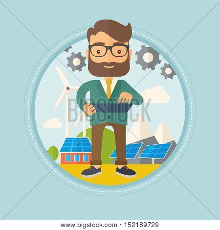 Hipster worker of solar power plant and wind farm. Worker with tablet computer on background of solar panels and wind turbines. Vector flat design illustration in the circle isolated on background.