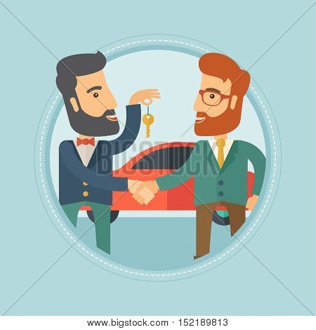 Hipster car salesman giving car key to a new owner on the background of car shop. Man buying car and shaking hand to a salesman. Vector flat design illustration in the circle isolated on background.