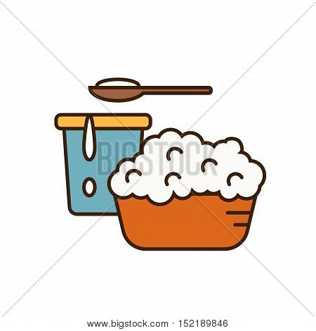 Cottage cheese on plate and yoghurt in container isolated vector illustration. Traditional and healthy products. Organic farming. Organic farmers food. Organic food and dairy product concept. Milk product icon. Cartoon dairy product. Dairy icon.