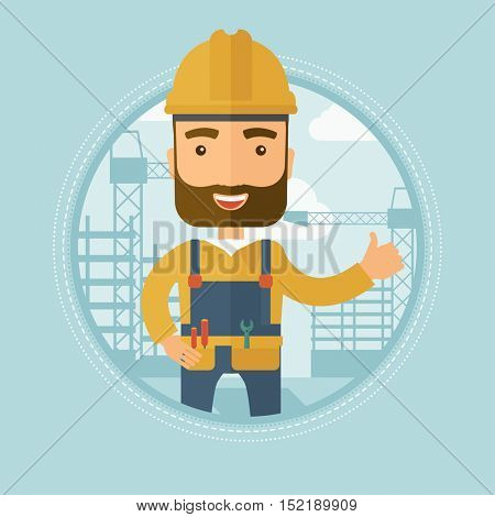 Caucasian hipster builder with beard giving thumb up on the background of construction site. A builder in helmet showing thumb up. Vector flat design illustration in the circle isolated on background.