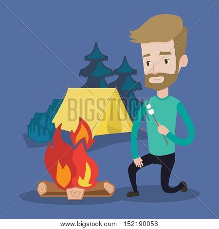 Smiling young hipster man with the beard sitting near campfire and roasting marshmallow over campfire on the background of camping site with tent. Vector flat design illustration. Square layout.