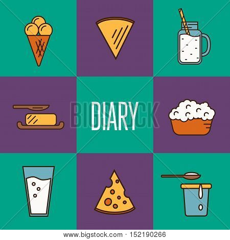 Assortment of different dairy products isolated square composition vector illustration. Dairy concept. Traditional milk products. Organic farming. Organic farmers food. Organic food and dairy product concept. Milk product icon. Cartoon dairy product. Dair