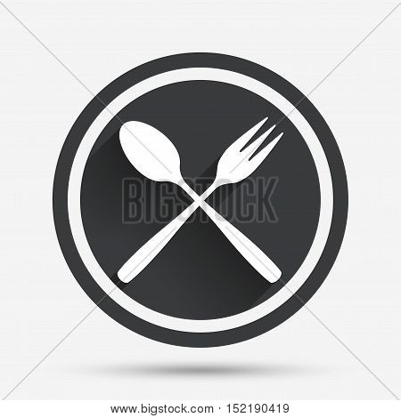 Eat sign icon. Cutlery symbol. Dessert fork and teaspoon crosswise. Circle flat button with shadow and border. Vector