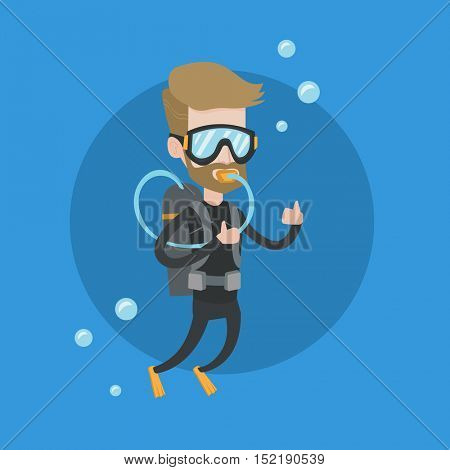 Hipster man with beard diving with scuba and showing ok sign. Young caucasian man in diving suit snorkeling and giving thumb up. Man enjoying the dive. Vector flat design illustration. Square layout.