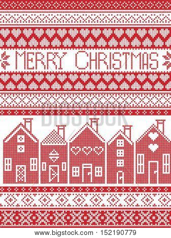 Scandinavian style and Nordic culture inspired Merry Christmas seamless card with  winter pattern including Swedish style houses, decorative ornaments, snow, snowflakes  in cross stitch