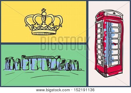 English national symbols. Royal crown, london red telephone box, stonehenge hand drawn vector illustrations on colored backgrounds set. For travel company ad, touristic concepts, web pages design. England vector art. England travel symbols.