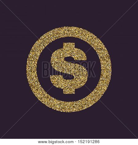 The dollar icon. Cash and money, wealth, payment symbol. Gold sparkles and glitter Vector illustration