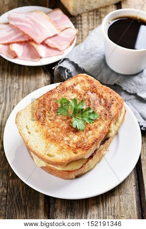 Breakfast toast sandwich with cheese and coffee country style