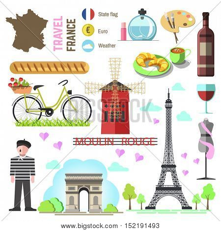 Set of Paris french symbols and landmarks. France vector illustrations. Travel icons Triumphal Arch and Eiffel Tower, wine bottle and cheese, perfume and fashion, croissant and coffee, flag and map.