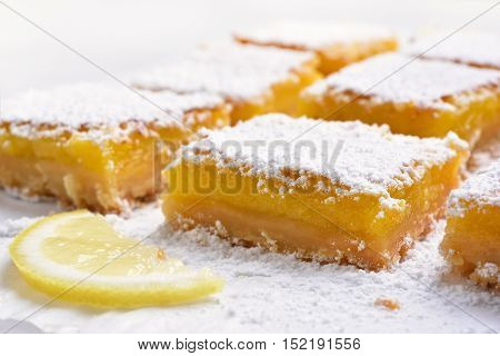 Fruit dessert lemon squares close up view