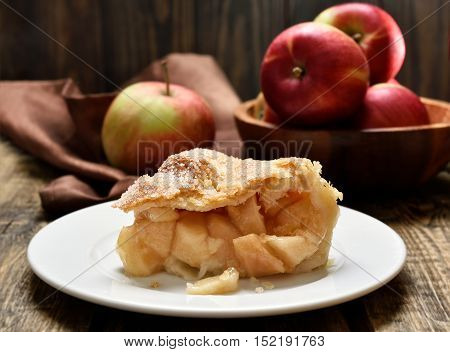 Piece of apple pie on plate close up view