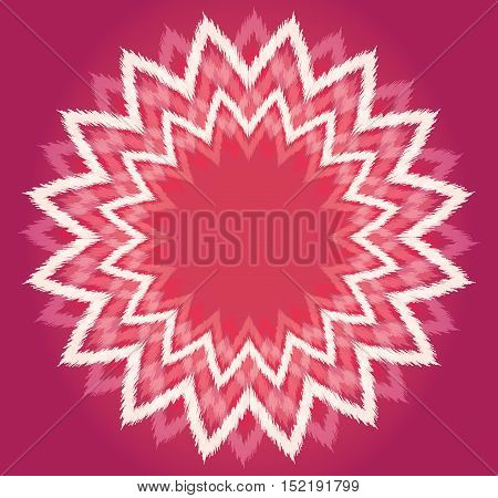 Round ethno frame of white triangles on pink. Vector element for your design