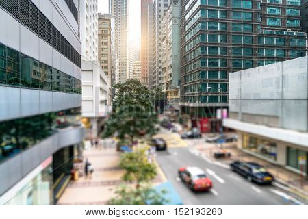 old urban street amidst modern highrises,Hong Kong,china.