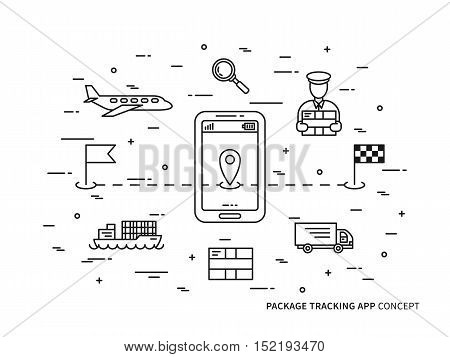 Vector package tracking linear illustration. Parcel tracking package delivery box shipment online service creative concept. Business logistic technology graphic design.