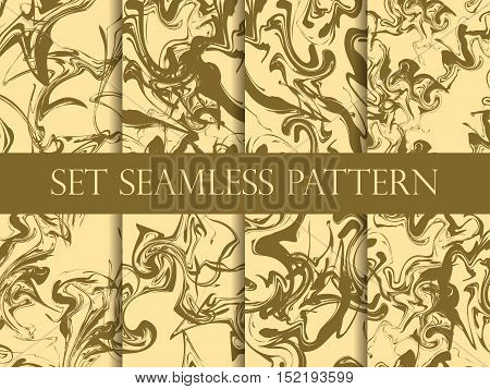 Marbling Seamless Pattern Set. Gold Color. Watercolor Marbling Illustration. Drawing On The Water. V