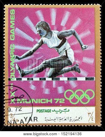 YEMEN - CIRCA 1971 : Cancelled postage stamp printed by Yemen, that shows Hurdles.