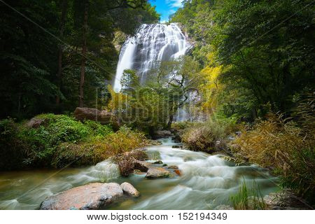 Waterfall in the forest Deep forest waterfall in thailand Klong lan waterfall