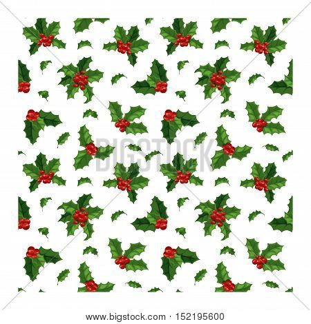 Merry Christmas seamless pattern with berry. Traditional hand drawn christmas berry seamless pattern decoration greeting card. Holiday vector christmas berry decoration seamless pattern floral design