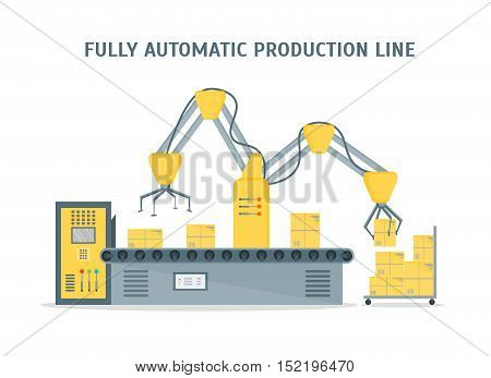 Conveyor Fully Automatic Production Line with Cardboard Boxes. Auto operation. Flat Design Style. Vector illustration