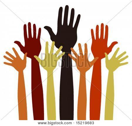Varied volunteering or charitable hands vector.