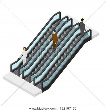 Escalator with People Isometric View. Passenger Going Up and Going Down. Stairs for Public Places. Vector illustration