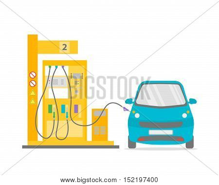 Fuel Petrol Gas Station Pump and Blue Car Flat Design Style. Transportation Industry. Vector illustration