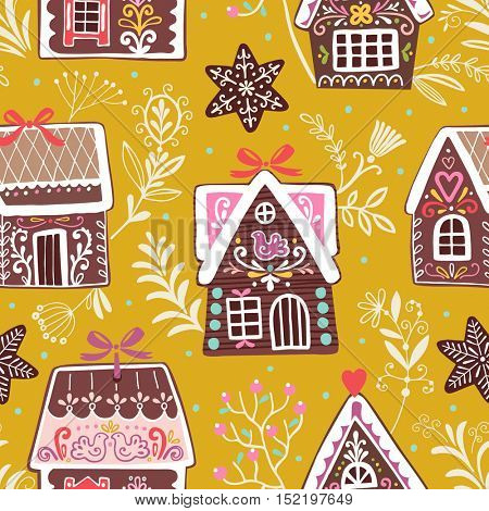 Vector festive seamless pattern with gingerbread houses. Christmas colorful background