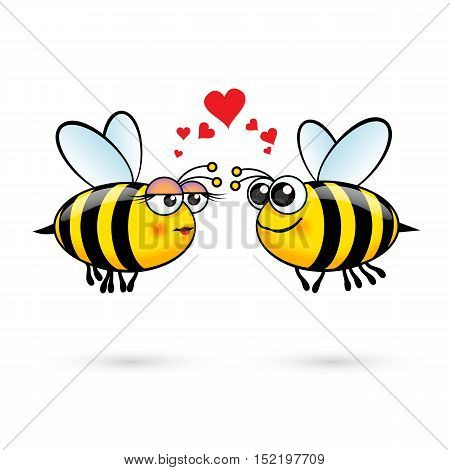 Cute Cartoon Bees in Love. Illustration on White Background