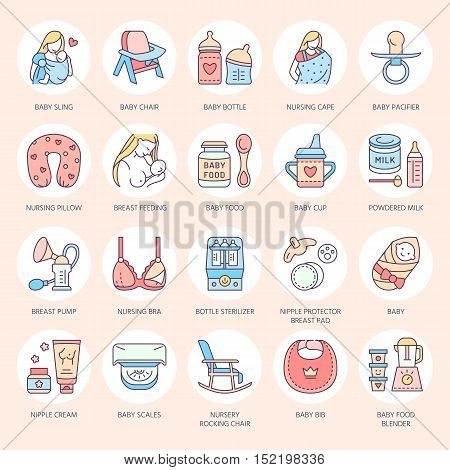 Modern vector line icon of breastfeeding baby infant food. Breastfeeding elements - breast pump woman child powdered milk bottle sterilizer baby. Breastfeeding pictogram editable stroke