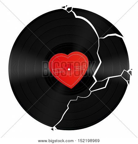 Broken vinyl record with unlabeled heart shaped center.