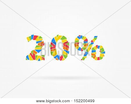 20 percent discount colorful vector illustration on grey background. 20 twenty percent off discount creative promotion concept. Special offer isolated element for banner