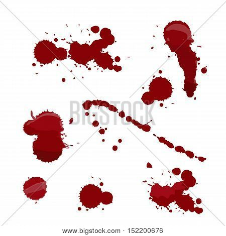 Set of various blood or paint splatters in halloween day on white background Vector different blood splashes drops and trail. vector illustration.