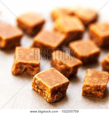 Butterscotch toffee caramel macro with copy space