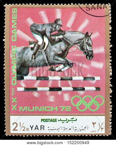 YEMEN - CIRCA 1971 : Cancelled postage stamp printed by Yemen, that shows Show jumping.