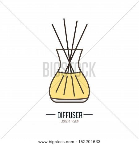 Modern vector icon of diffuser. Essential oils shop linear logo. Cute symbol for aromatherapy store. Elements - oil stick aroma. Aromatherapy diffuser simple silhouette for spa salon.