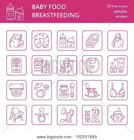 Modern vector line icon of breast feeding baby infant food. Nursery elements - breast pump woman child powdered milk bottle sterilizer baby. Linear pictogram for site brochure